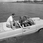President Lyndon B. Johnson in the Amphicar with Eunice Kennedy Shriver and Paul Glynn. Haywood Ranch, near Kingsland, Texas. 4/10/65.