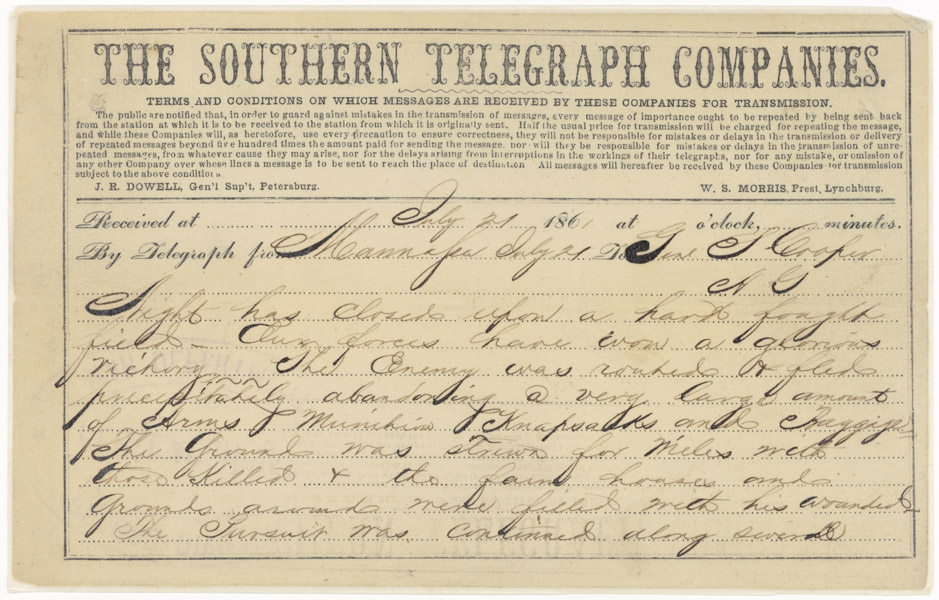 Telegram from Jefferson Davis to Gen. S. CooperJuly 21, 1861 14882_2007_001