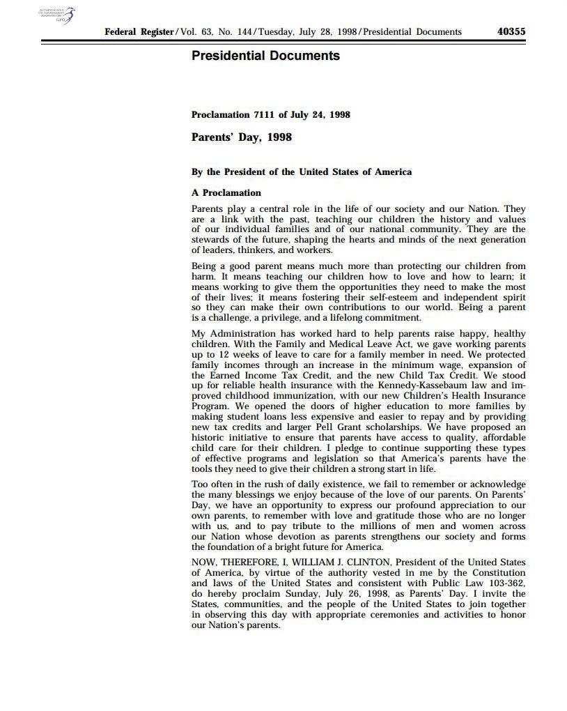 Parents' Day Proclamation 1998