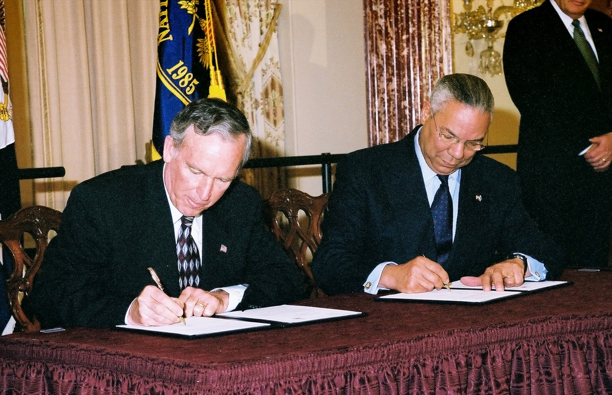 Secretary of State Colin L. Powell In A Ceremony To Mark Transfer Of The First Increment of Electronic Documents from Department of State