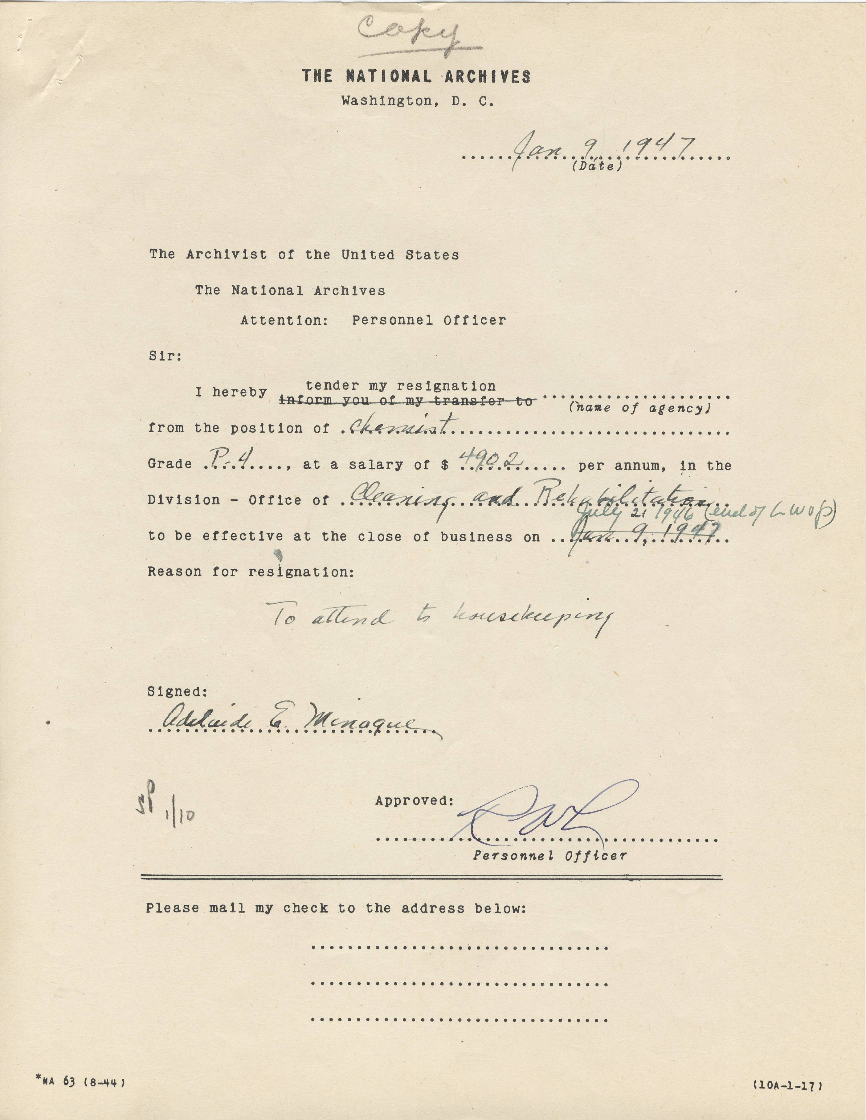 Adelaide Minogue Notice of Resignation, 1947 - RG 64, A1 1, file 75.29 file M, box 38