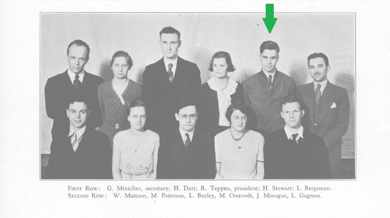 James Minogue as Member of Student Council, Duluth State Teachers College, Minnesota, 1931-1932