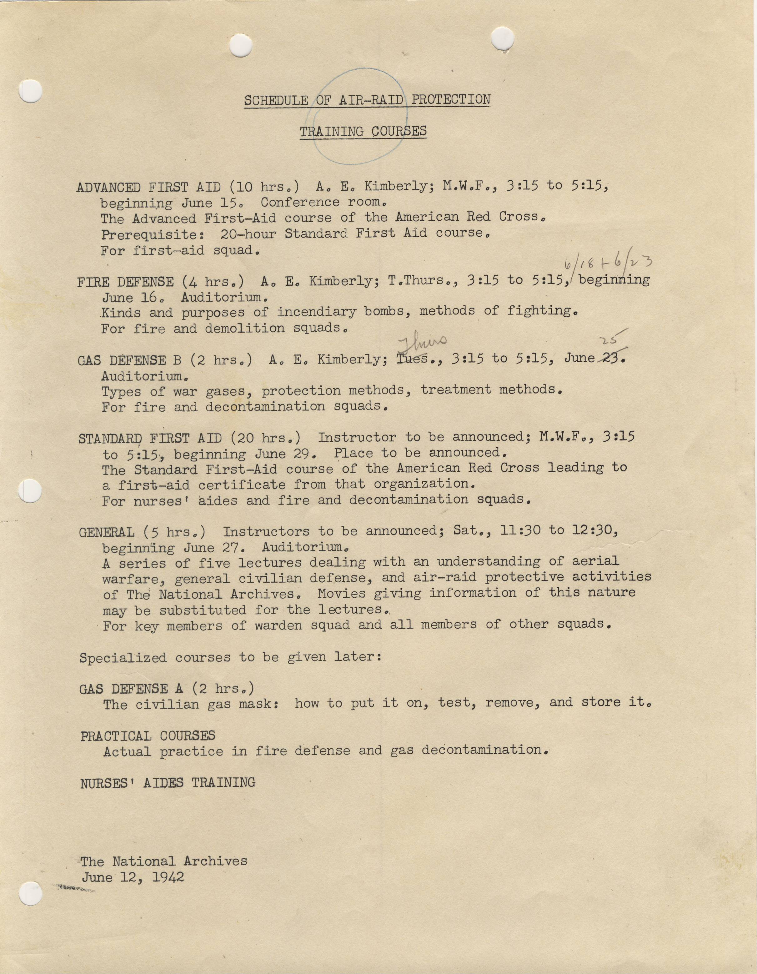 RG 64, A1 49, box 9 folder Training - Schedule of Air-Raid Protection Training Courses