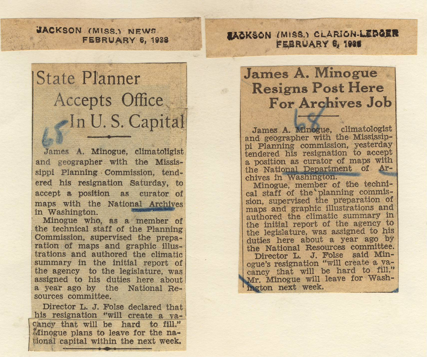 RG 64, P 67, file 1938 - Appointment of James A. Minogue to Carto, Feb.