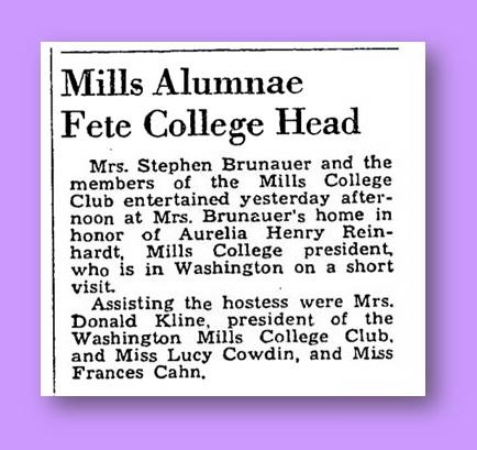 Cowdin Hosts Mills College President - Wash. Post, March 3, 1941, p. 10