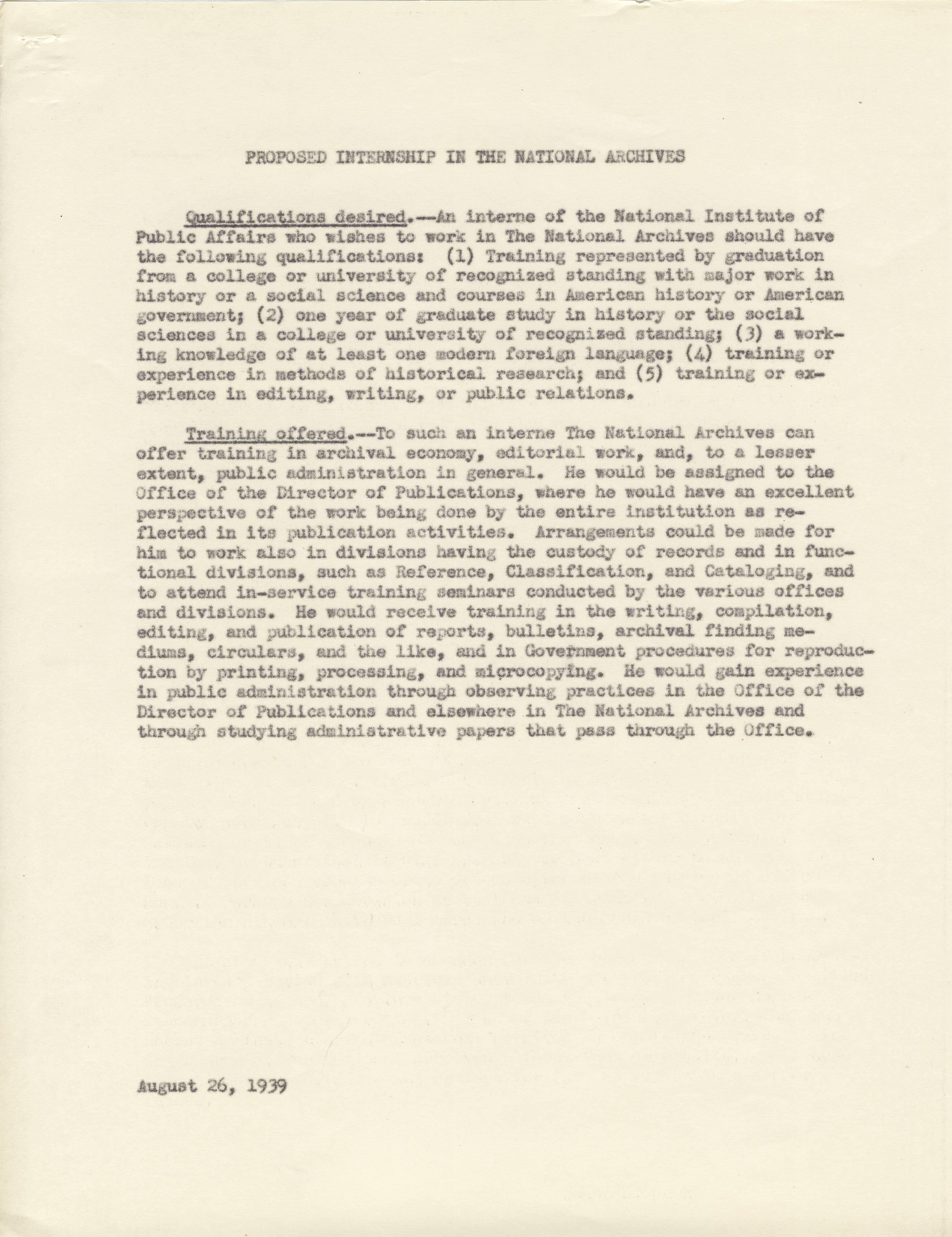 NA Response to NIPA, Aug. 1939, p. 2 - RG 64, A1 1, file 77.6 Internships, box 40