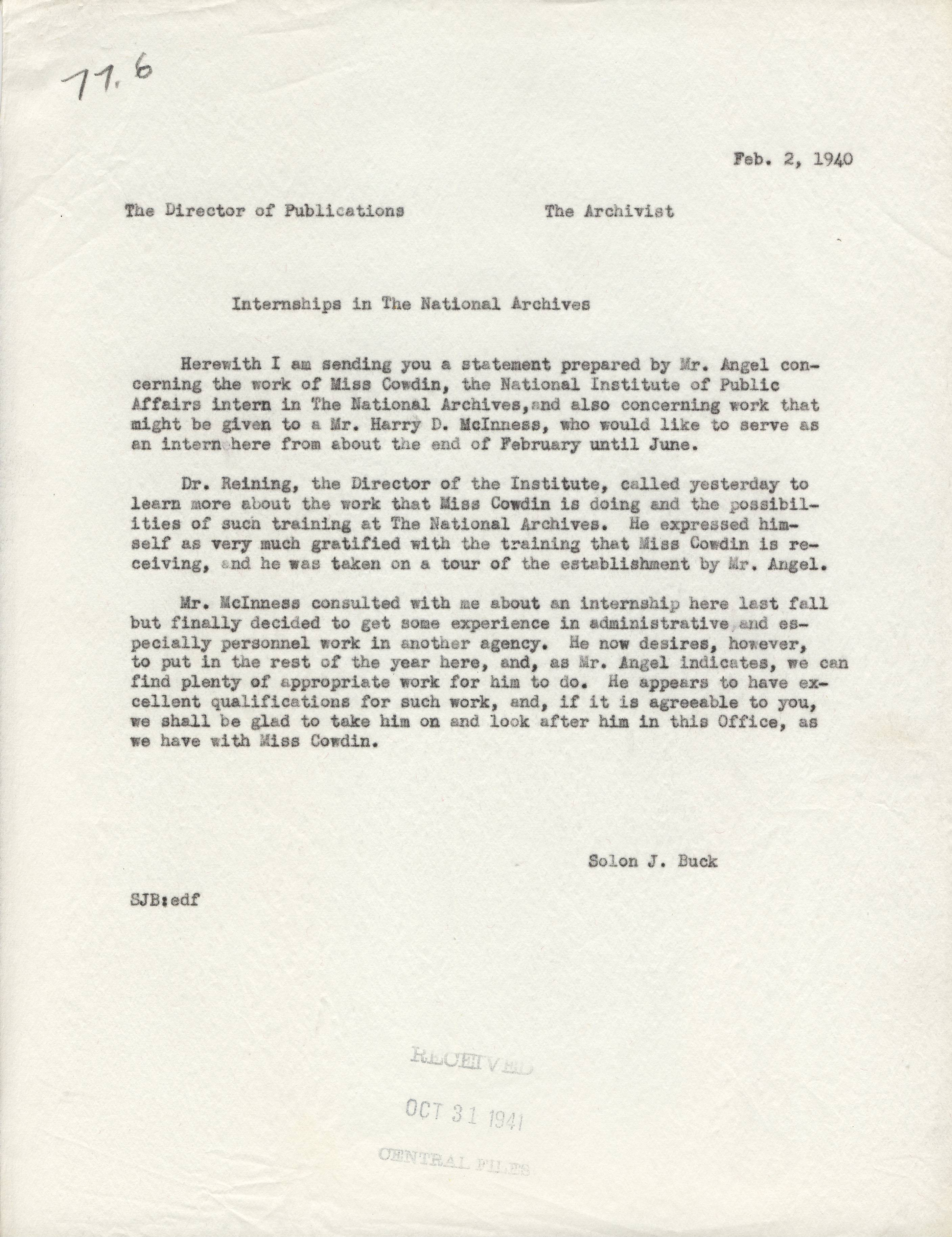 Report on First Intern at Archives, 1940, cover letter - RG 64, A1 1, file 77.6 Internships, box 40