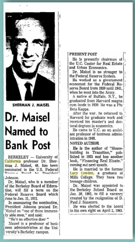 Sherman Maisel Named to Fed - Oakland Tribune, April 2, 1965