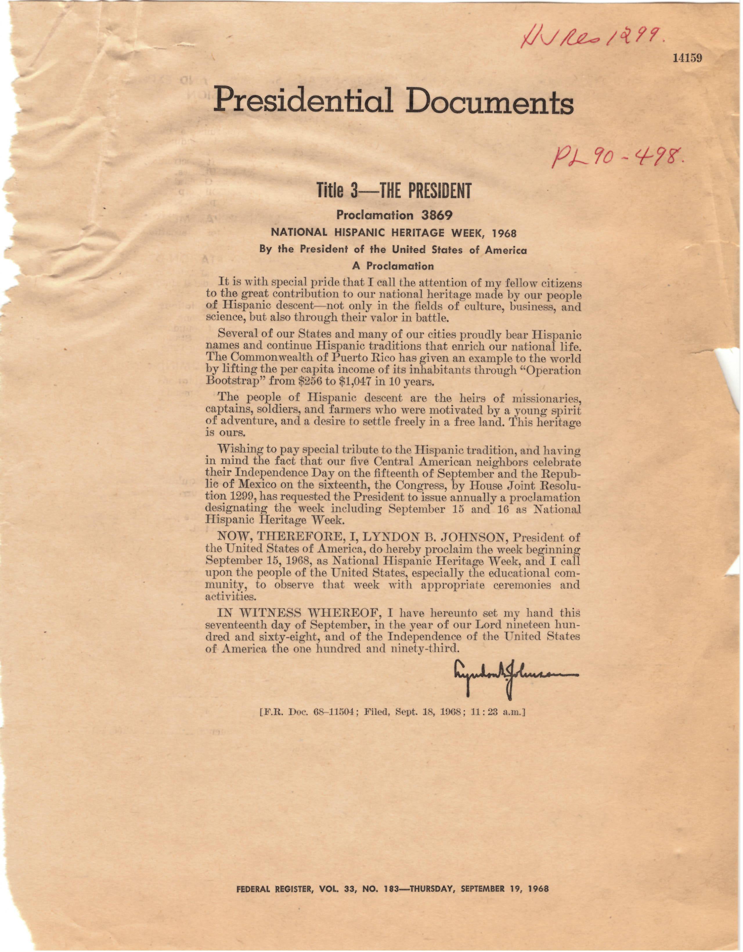 Proclamation 3869 (LBJ)