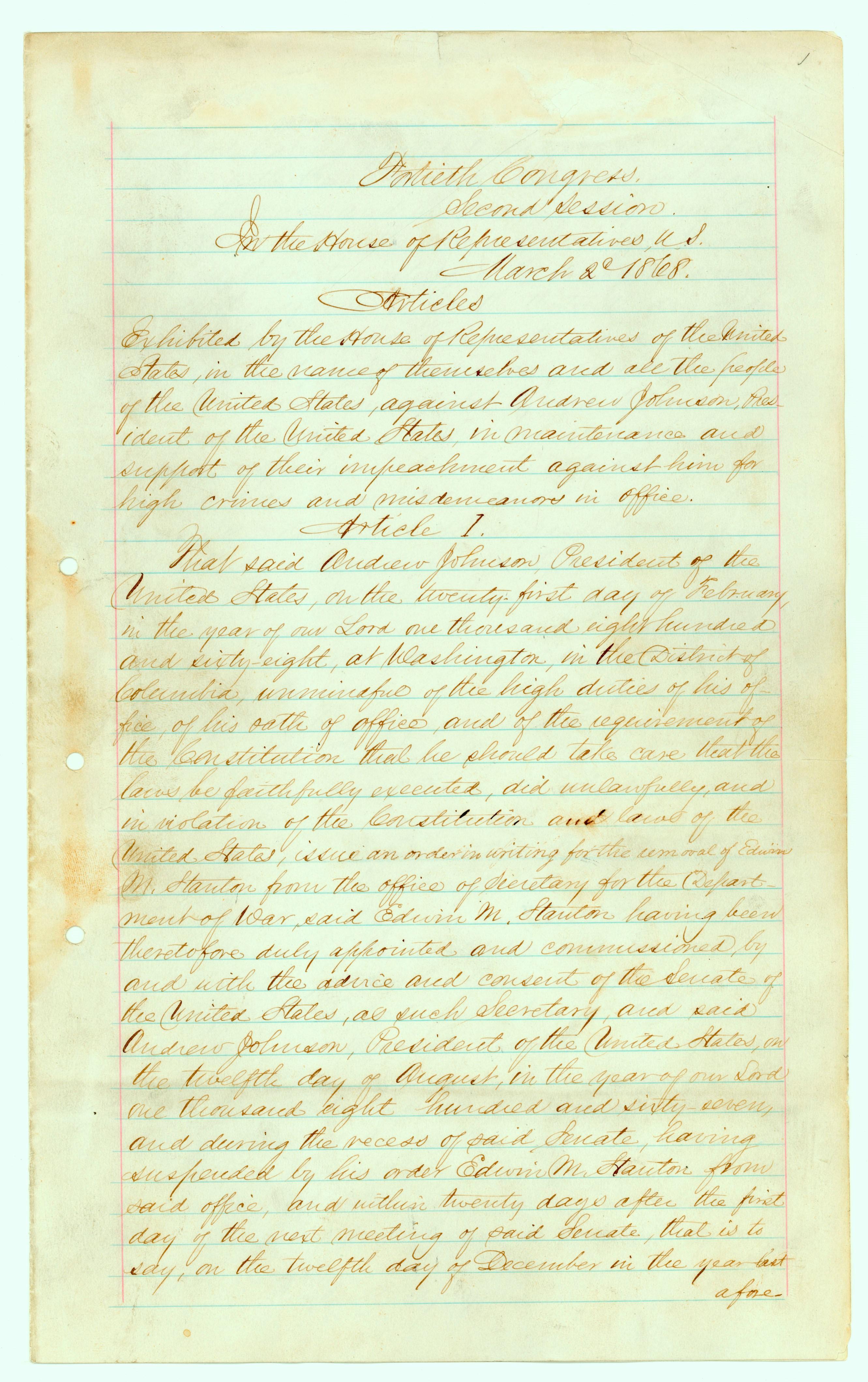 Articles of Impeachment 1868 p1