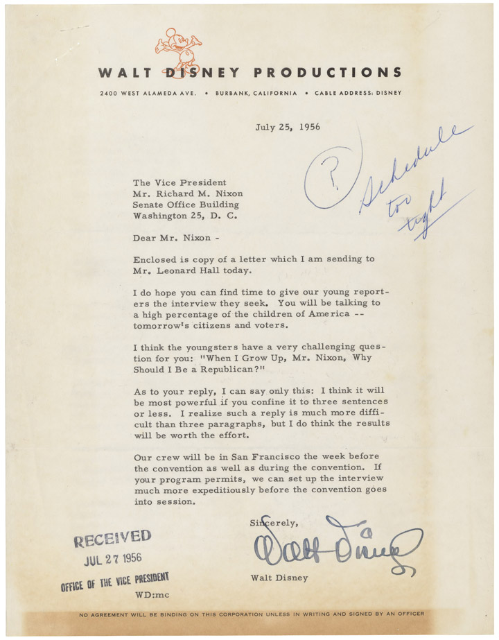 08921_2003_001Letter from Walt Disney to Nixon