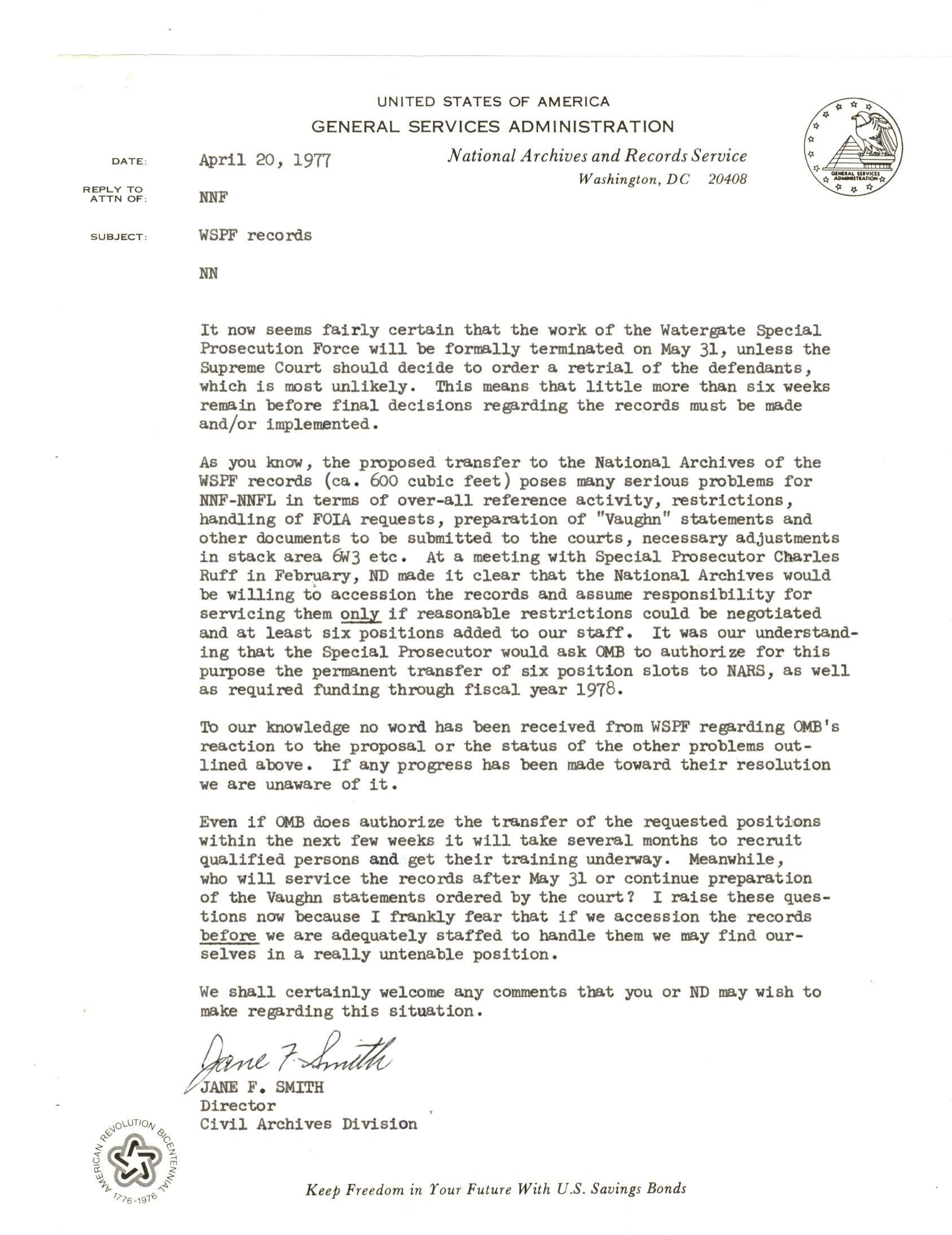 Memo from Jane Smith, Director of the Civil Archives Division, to the Assistant Archivist, 1977