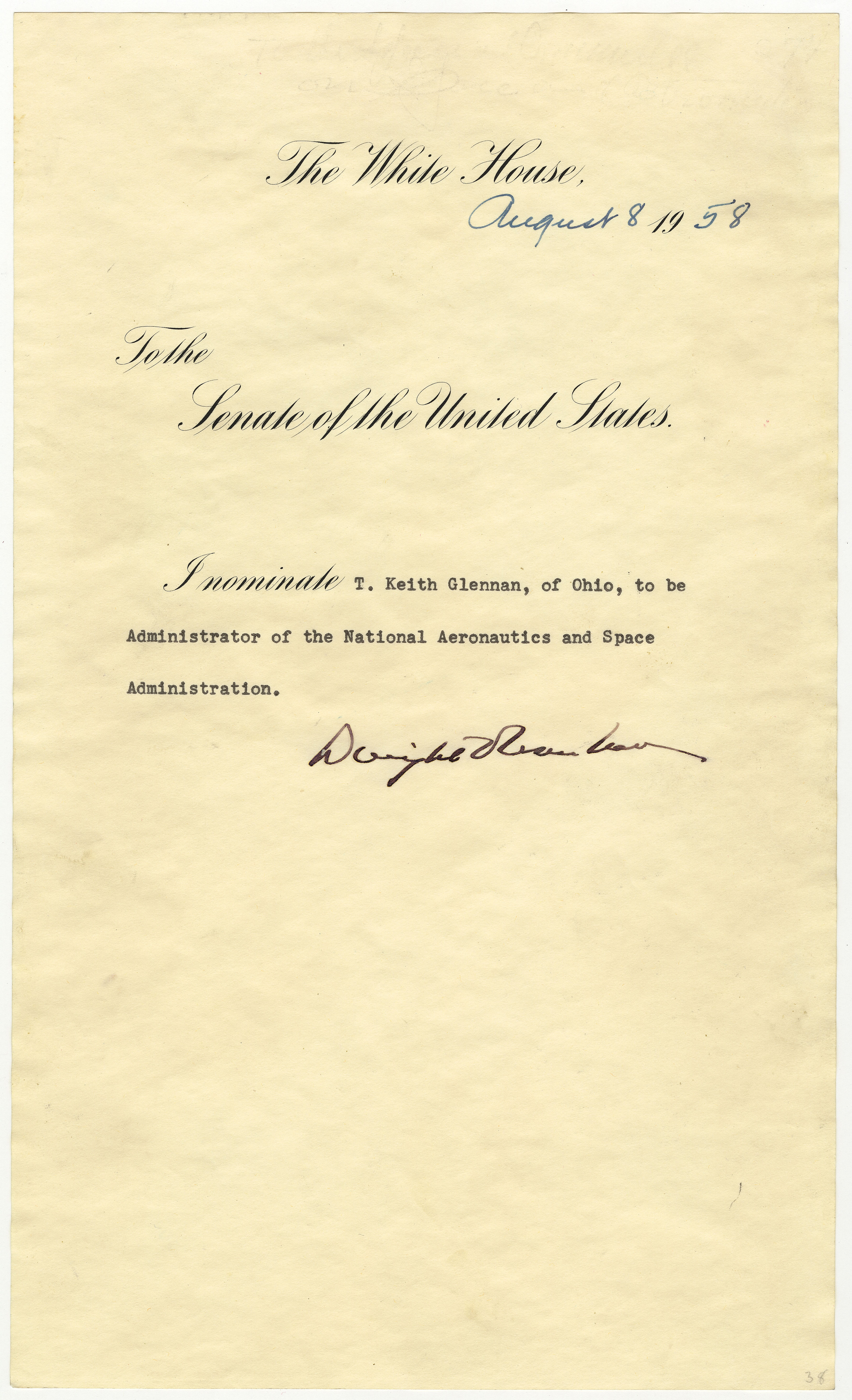 Message of President Dwight D. Eisenhower nominating T. Keith Gl