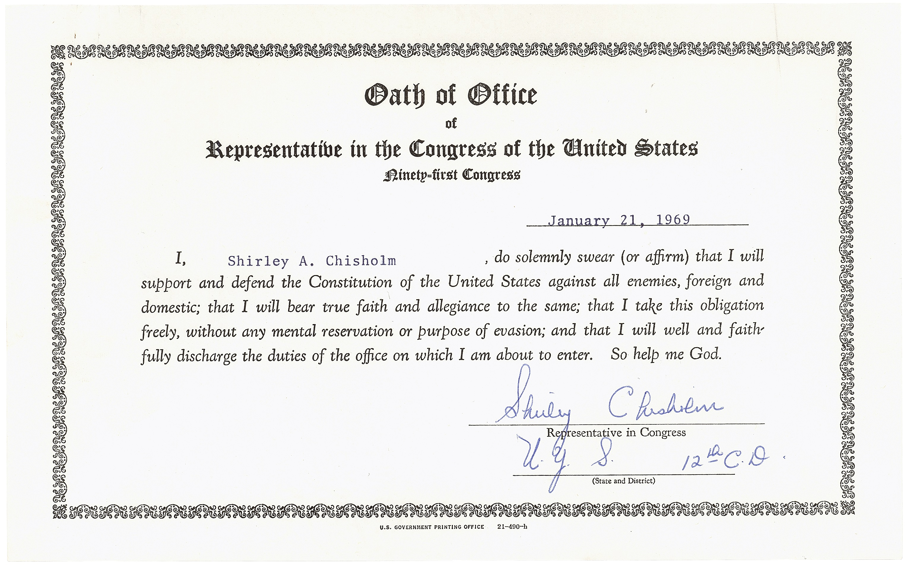 Shirley_Chisholm_Oath_of_Office_Jan_29_1961